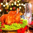 Christmas dinner with roasted turkey — Stock Photo #59944177