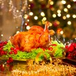 Christmas dinner with roasted turkey — Stock Photo #59944225
