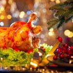 Christmas dinner with roasted turkey — Stock Photo #59944231