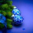 Christmas blue baubles — Stock Photo #59944291