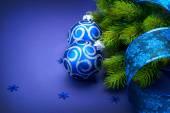 Christmas blue baubles — Стоковое фото