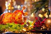 Christmas dinner with roasted turkey — Stock Photo