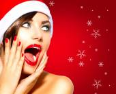 Christmas Surprised Winter Woman. — Stock Photo