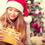 Girl With Christmas Gift Box — Stock Photo #60807981