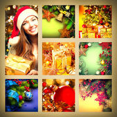 Christmas collage with Girl — Stock Photo