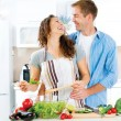 Couple Cooking Together — Stock Photo #61540875