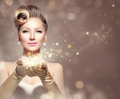 Woman with magic stars — Stock Photo