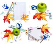 School tools with leaves — Stock Photo