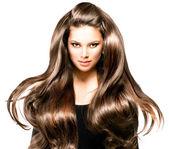 Flicka med blåser håret — Stockfoto