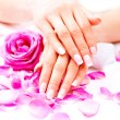 Beautiful female hands with  petals — Stock Photo #74129663