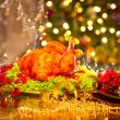 Christmas table setting with turkey. — Stock Photo #74124601