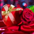 Valentine red heart gift box — Stock Photo #74125561