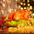 Christmas table setting with turkey. — Stock Photo #74126459