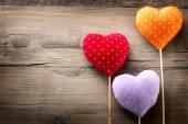 Valentines vintage handmade hearts — Stock Photo