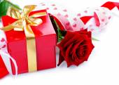 Hearts, rose flower and gift box — Stock Photo
