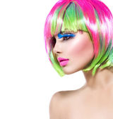 Model girl with colorful dyed hair — Foto de Stock