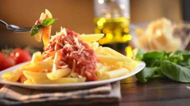 Pasta Penne with Bolognese Sauce — Stock Video