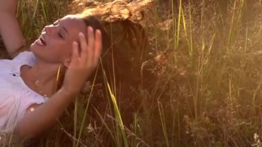 Girl with  Long Hair Outdoors — Stock Video