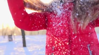 Teenage girl blowing snow — Stock Video