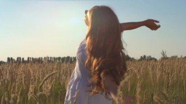 Young Woman Enjoying Nature — Stock Video
