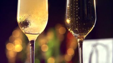 Two Flutes with Sparkling Champagne — Stock Video