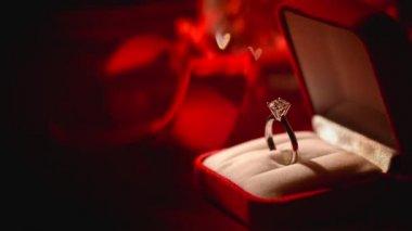 Diamond ring on  silk background — Stock Video