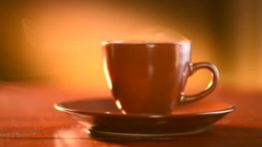 Brown Cup of Hot Beverage — Stock Video