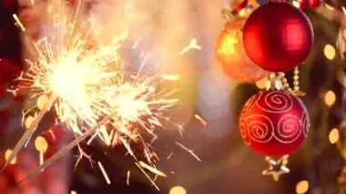 Christmas Decorations, Holiday Sparkler — Stock Video