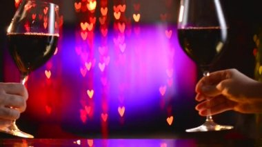 Two Wine Glasses over  Hearts Background — Stock Video