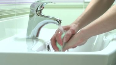Woman Washing Hands. — Stock Video