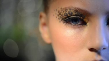 Girl with Holiday Leopard Makeup — Stock Video