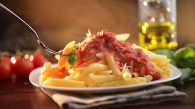 Pasta Penne with Bolognese — Stock Video