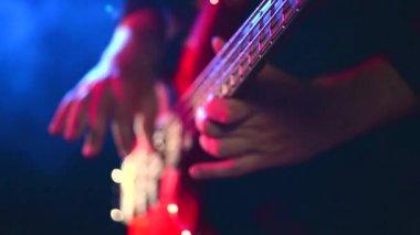 Man playing  guitar at  rock concert — Stock Video