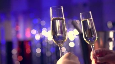 Glasses with Sparkling Champagne — Stock Video