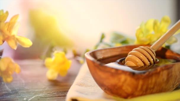 Fondo de miel sabroso aroma — Vídeo de stock