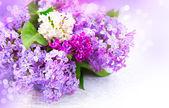 Lila Blumen Bund gegenüber dem Hintergrund — Stockfoto