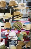 Hats in street shop — Stock Photo