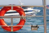 Lifebuoys on yacht side. — Stok fotoğraf