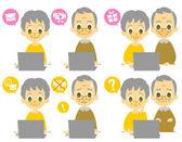Computer elderly couple computer viruses — Stock Vector
