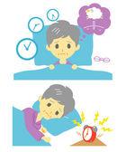 Insomnia, sleeplessness, old woman — Stock Vector