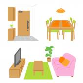 Living room, dining room, door — Stock Vector