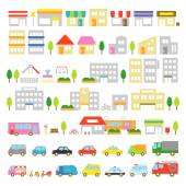 Town icon stores houses vehicles — Stock Vector