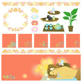 Asian spa items banners — Stock Vector