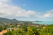 View from the mountain to the fishing village — Stock Photo
