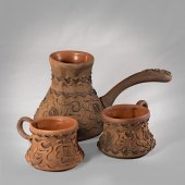 Clay coffee set — Stock Photo