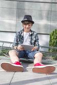 Boy with Skateboard — Stock Photo