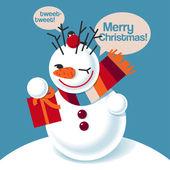 Vector illustration of a snowman — Stock Vector