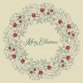 Vector Christmas wreath frame — Stock Vector