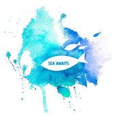 Watercolor Blue Texture — Stock Vector