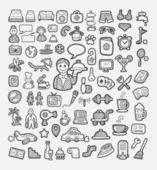 Hotel and vacation icons sketch — Stock Vector